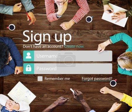 registration web page Concept