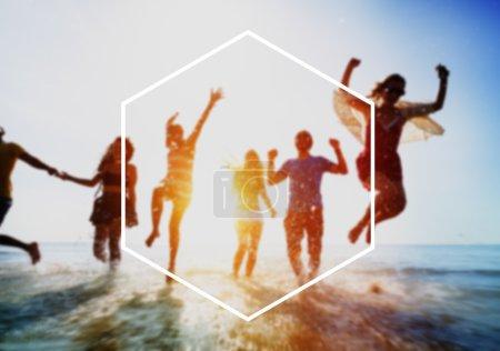 Hexagon Frame, Summer Vacation Concept