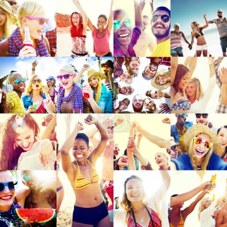 young happy people on the beach
