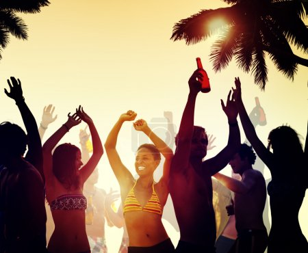 People at Beach Party, Vacation Concept