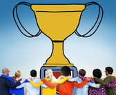 Group of Business People and  Motivation Trophy