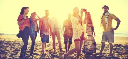 Beach Summer Friends Bonding Concept