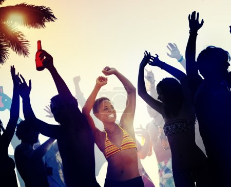 People at Beach Party on Summer Concept