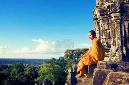 Contemplating Monk at Angkor Wat Siam Reap