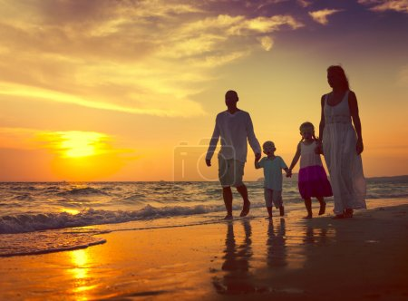 Family Walking at Beach Concept