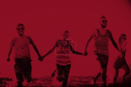 Friends on Summer Running Concept