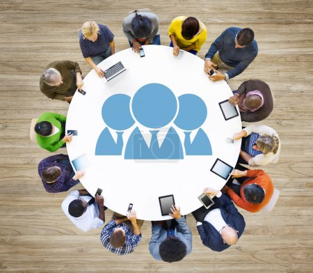 people at the table and Social Networking Concept