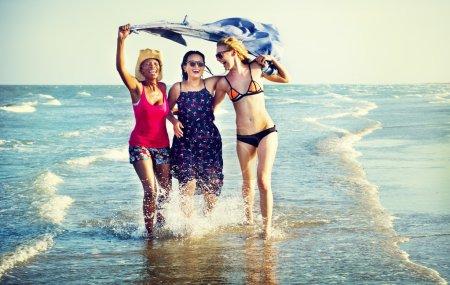 Femininity Girls at Summer Beach