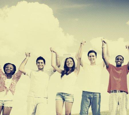 Friends Celebration Victory Concept