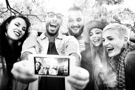 Friends making Selfies Summer Happiness Concept