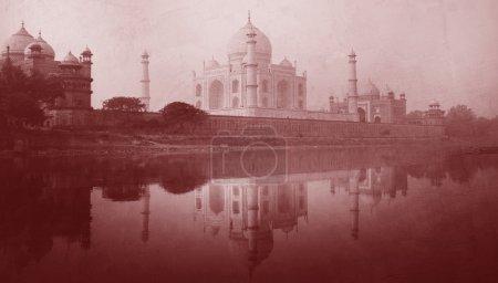 Golden Picture Of Taj Mahal