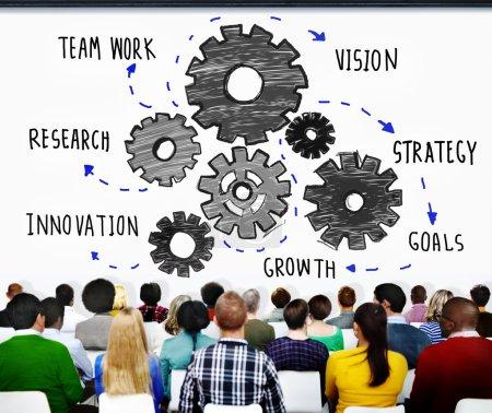 People at seminar and Teamwork Concept