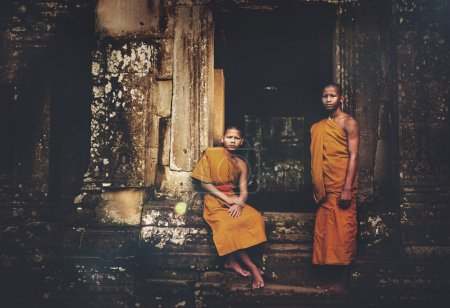 Photo for Serene Monks in Angkor Wat, Siam Reap, Cambodia - Royalty Free Image