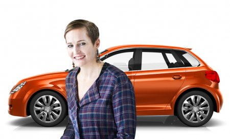 woman standing smilling with car behind her