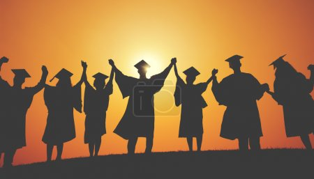 Students with Hands Raised, Graduation Concept