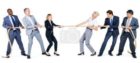 Group of Business People Pulling Rope