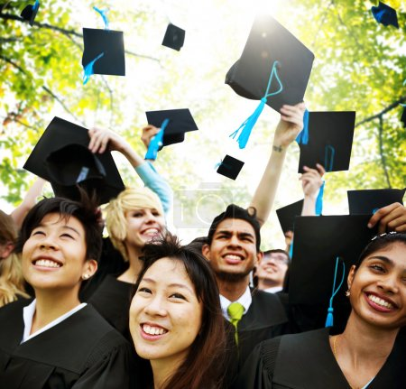 Photo for Group of students of graduates happy at Graduation Ceremony, Concept - Royalty Free Image