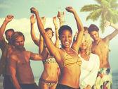 Lidé na Beach Party koncepce
