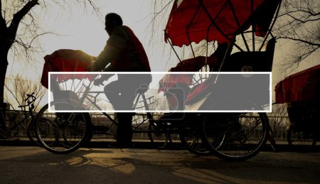 silhouette people ride by rickshaw