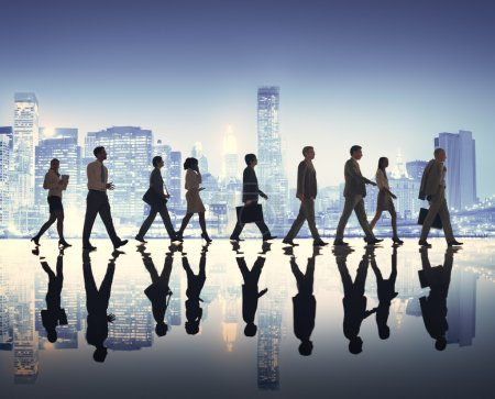 Business People Walking at Rush Hour