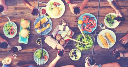 Friends Dining Outdoors
