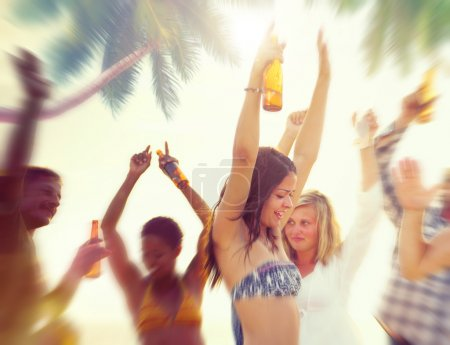 People Celebrating at Beach Party Concept