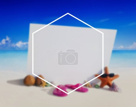 Hexagon Frame Summer Vacation Concept