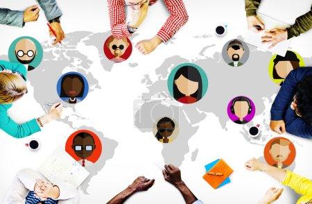 Photo pour Groupe de gens d'affaires et communautaire mondial, People International nationalité Concept - image libre de droit