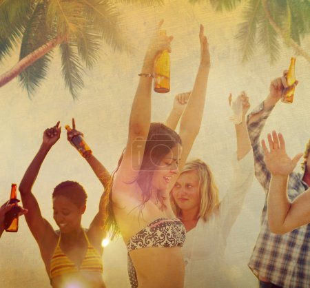 People at Beach Party Vacation Concept