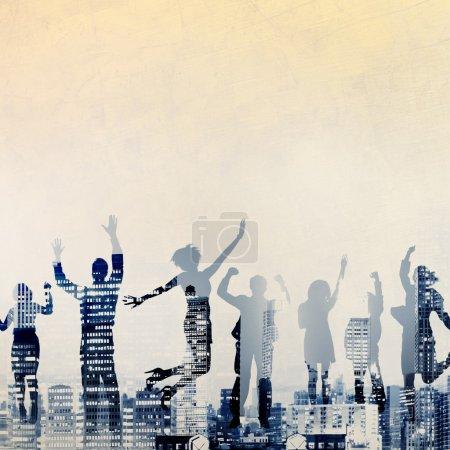 silhouettes de gens d'affaires