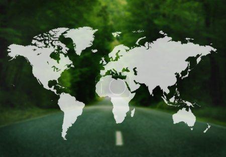 Photo pour Cartographie mondiale monde mondialisation terre Concept International - image libre de droit