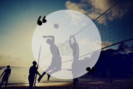 People playing on Beach Volleyball