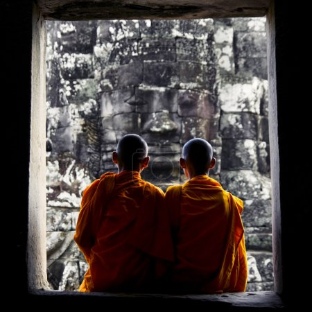 Contemplating Monks in Cambodia