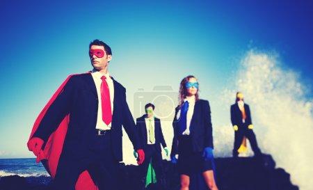 Business superheroes confident concept