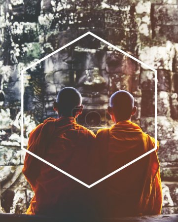 monks with Hexagon Icon Frame