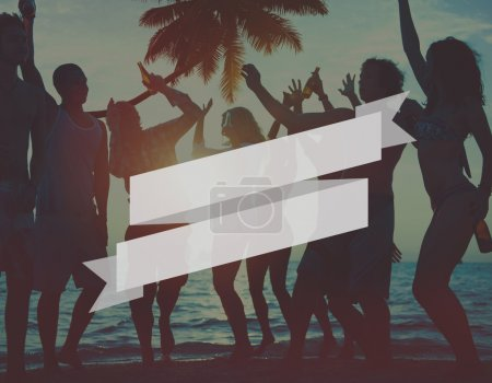 people enjoying a summer beach party.