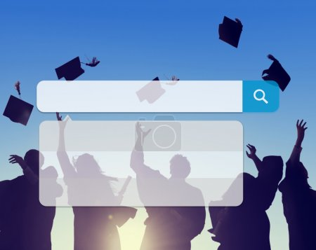 Photo for Group of Students and Search Box, Technology, Internet Browse, Browsing Online Concept - Royalty Free Image