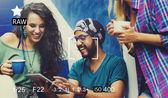Zaostření kamery zachytit vzpomínky koncept