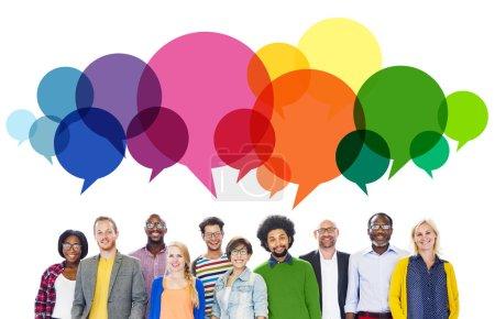 Message de gens parlant Communication Concept