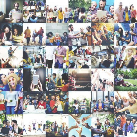 collage of photos young happy people