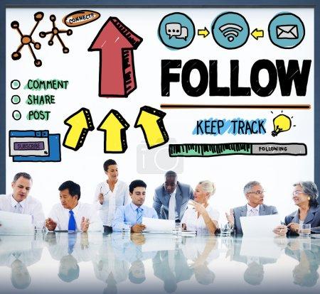 folgen sie verbinden networking konzept