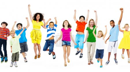 Photo for Happy children together running and jumping - Royalty Free Image