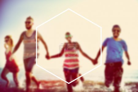 Hexagon Frame Holiday Summer Vacation Concept
