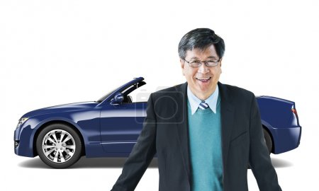 man in the front of new car