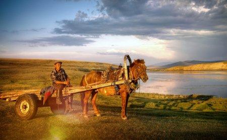 Man Sitting On A Horse Cart