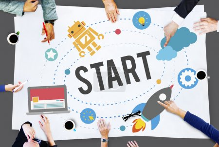 Business People with Start Concept