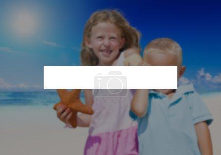 Happy kids at beach