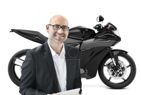 man in the front of new motorbike