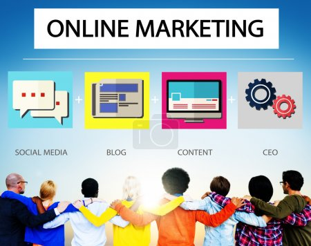 Diverse People and Online Marketing Concept