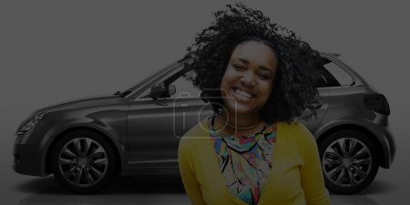 woman  in the front of new car
